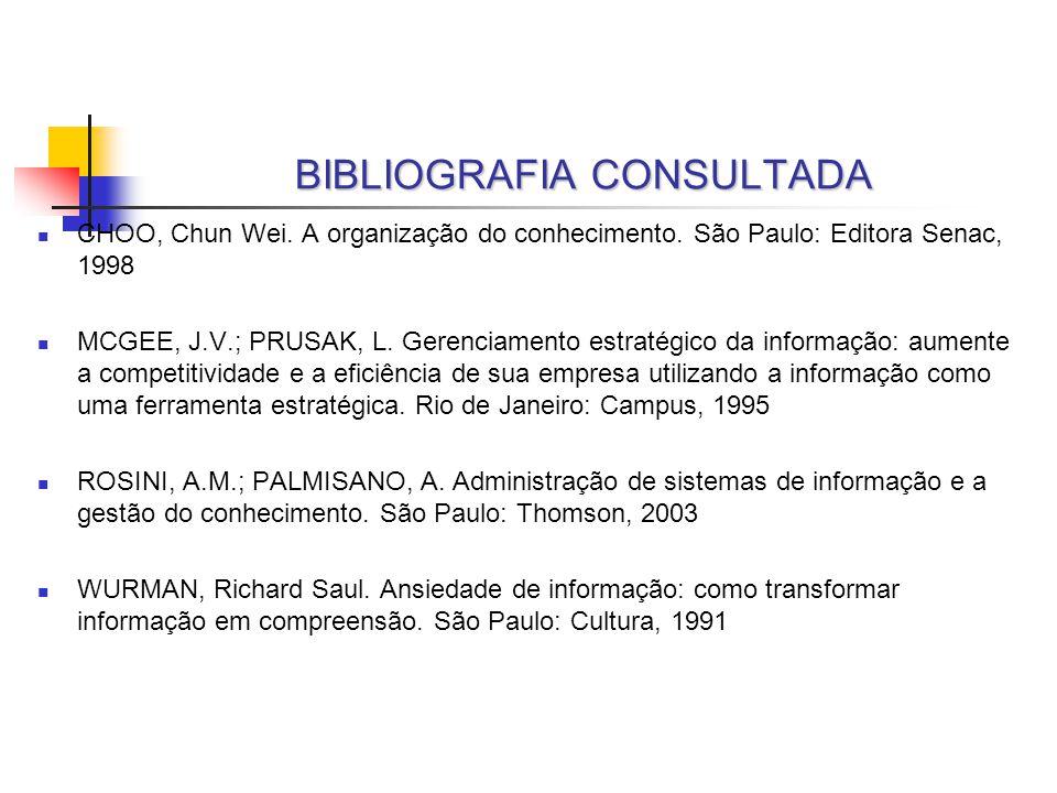 BIBLIOGRAFIA CONSULTADA CHOO, Chun Wei. A organização do conhecimento. São Paulo: Editora Senac, 1998 MCGEE, J.V.; PRUSAK, L. Gerenciamento estratégic