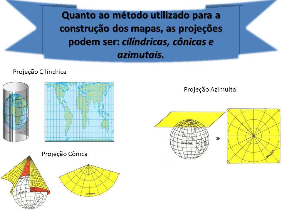Quanto ao método utilizado para a construção dos mapas, as projeções podem ser: cilíndricas, cônicas e azimutais. Projeção Cilíndrica Projeção Cônica