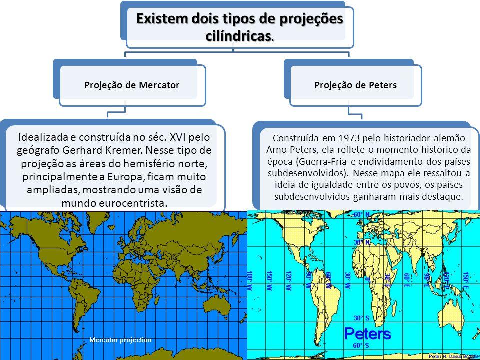 Existem dois tipos de projeções cilíndricas. Projeção de Mercator Idealizada e construída no séc. XVI pelo geógrafo Gerhard Kremer. Nesse tipo de proj