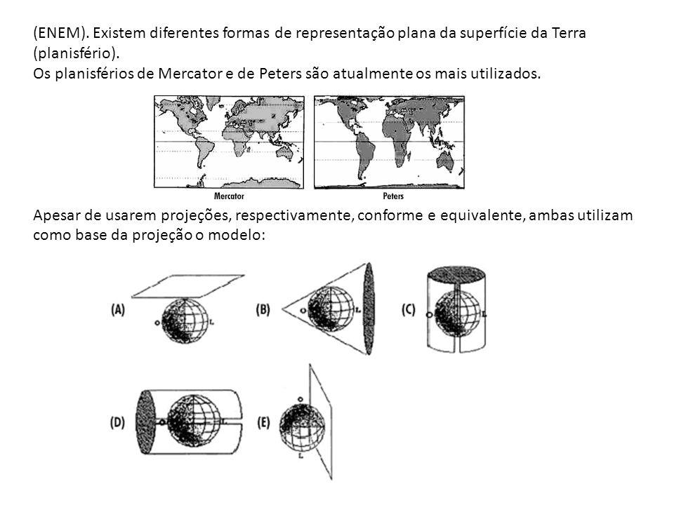 (ENEM). Existem diferentes formas de representação plana da superfície da Terra (planisfério). Os planisférios de Mercator e de Peters são atualmente
