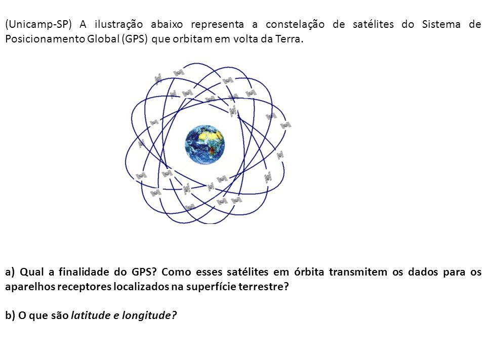 (Unicamp-SP) A ilustração abaixo representa a constelação de satélites do Sistema de Posicionamento Global (GPS) que orbitam em volta da Terra. a) Qua