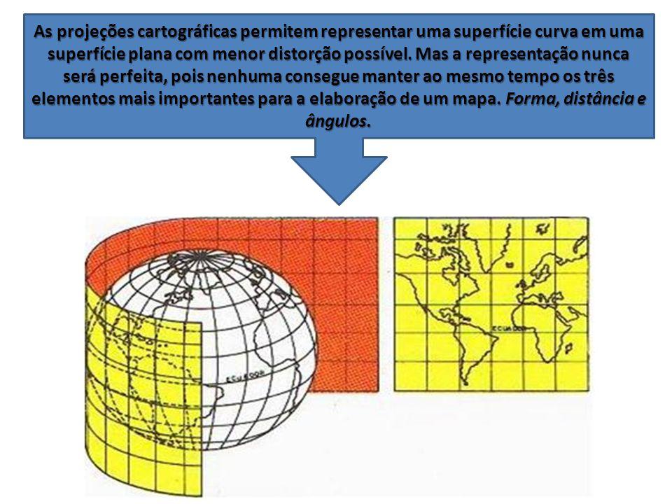 As projeções cartográficas permitem representar uma superfície curva em uma superfície plana com menor distorção possível. Mas a representação nunca s