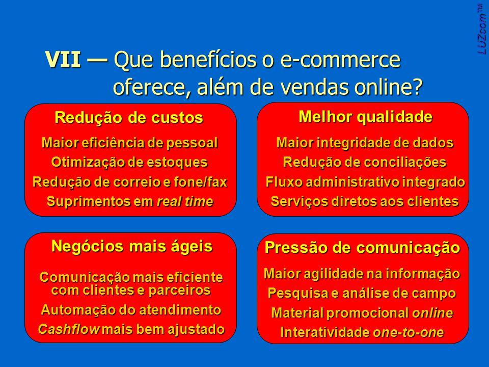 LUZcom VII Que benefícios o e-commerce oferece, além de vendas online.