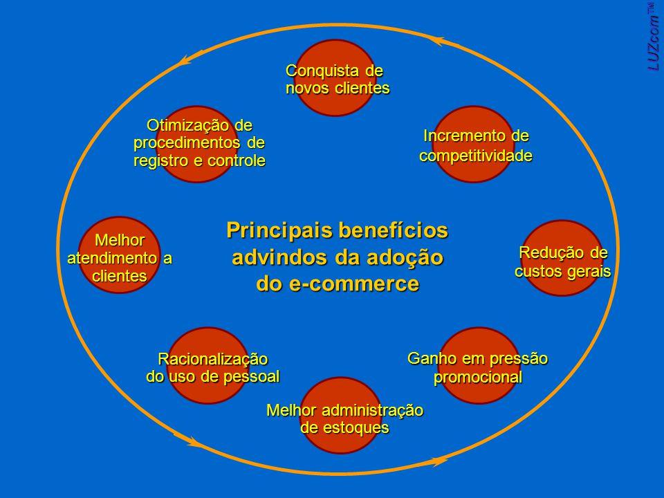 Conquista de novos clientes Principais benefícios advindos da adoção do e-commerce Otimização de procedimentos de registro e controle Melhor atendimento a clientes Racionalização do uso de pessoal Melhor administração de estoques Ganho em pressão promocional Redução de custos gerais Incremento de competitividade LUZcom
