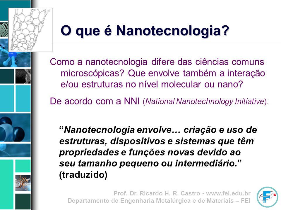 Prof. Dr. Ricardo H. R. Castro - www.fei.edu.br Departamento de Engenharia Metalúrgica e de Materiais – FEI Como a nanotecnologia difere das ciências