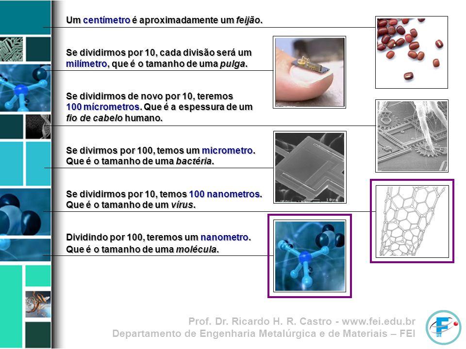 Prof. Dr. Ricardo H. R. Castro - www.fei.edu.br Departamento de Engenharia Metalúrgica e de Materiais – FEI Um centímetro é aproximadamente um feijão.