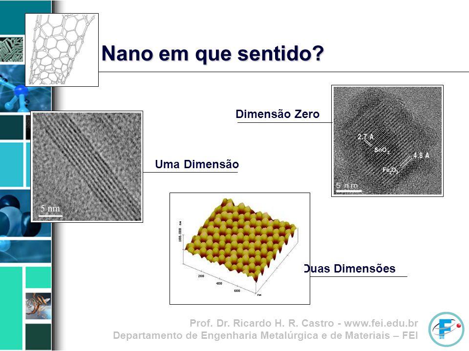 Prof. Dr. Ricardo H. R. Castro - www.fei.edu.br Departamento de Engenharia Metalúrgica e de Materiais – FEI Nano em que sentido? Dimensão Zero Uma Dim