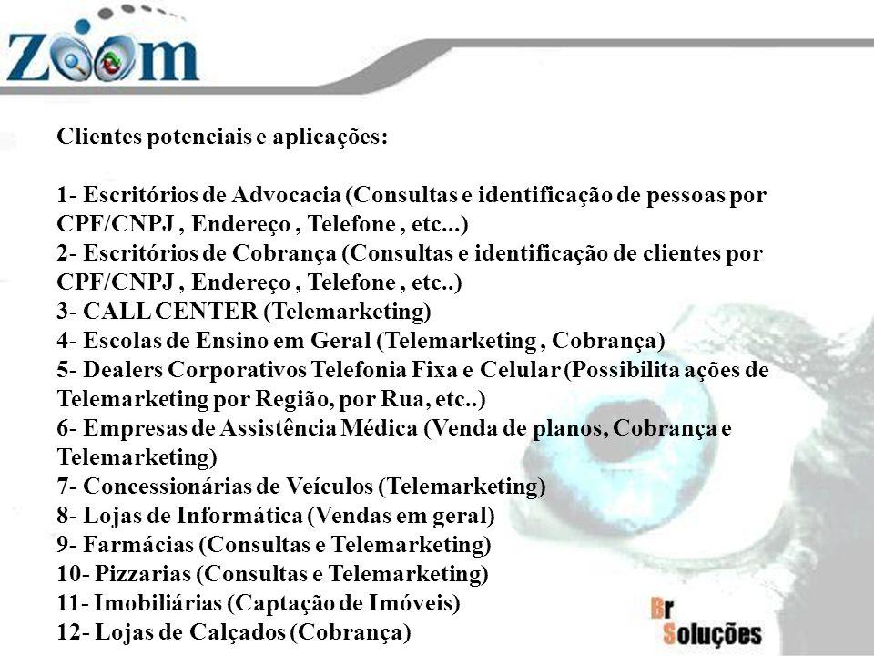Clientes potenciais e aplicações: 1- Escritórios de Advocacia (Consultas e identificação de pessoas por CPF/CNPJ, Endereço, Telefone, etc...) 2- Escri