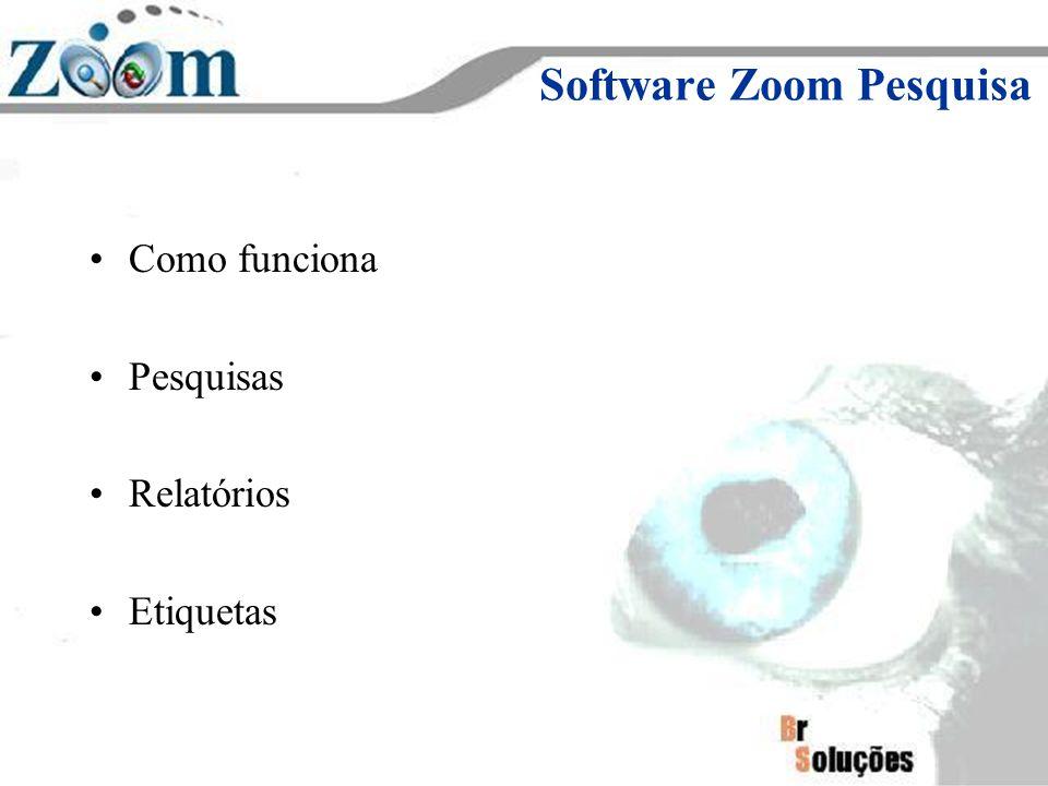 Software Zoom Pesquisa Como funciona Pesquisas Relatórios Etiquetas
