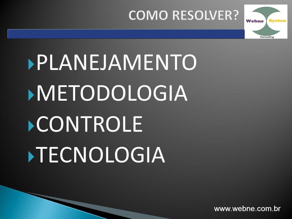 PLANEJAMENTO METODOLOGIA CONTROLE TECNOLOGIA www.webne.com.br