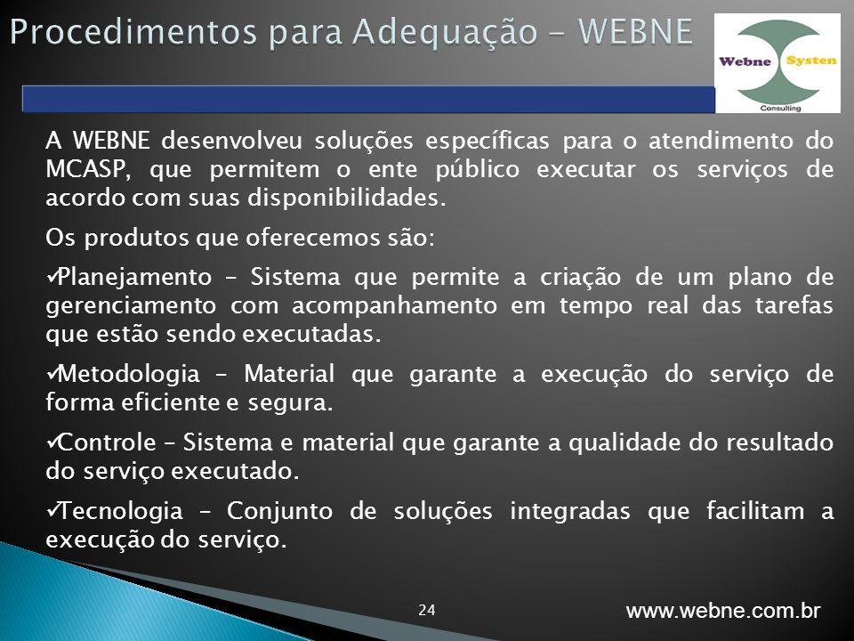 24 A WEBNE desenvolveu soluções específicas para o atendimento do MCASP, que permitem o ente público executar os serviços de acordo com suas disponibi