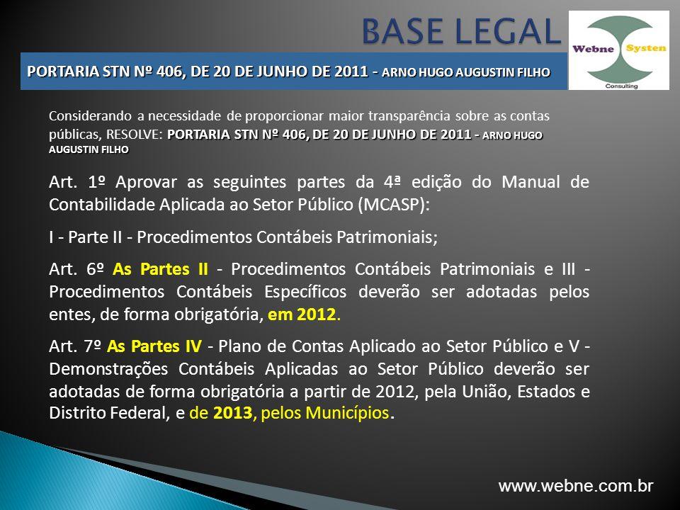 PORTARIA STN Nº 406, DE 20 DE JUNHO DE 2011 - ARNO HUGO AUGUSTIN FILHO Considerando a necessidade de proporcionar maior transparência sobre as contas
