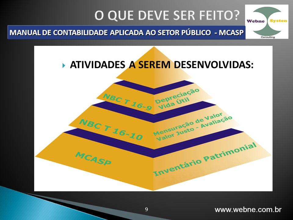 9 MANUAL DE CONTABILIDADE APLICADA AO SETOR PÚBLICO - MCASP ATIVIDADES A SEREM DESENVOLVIDAS: www.webne.com.br