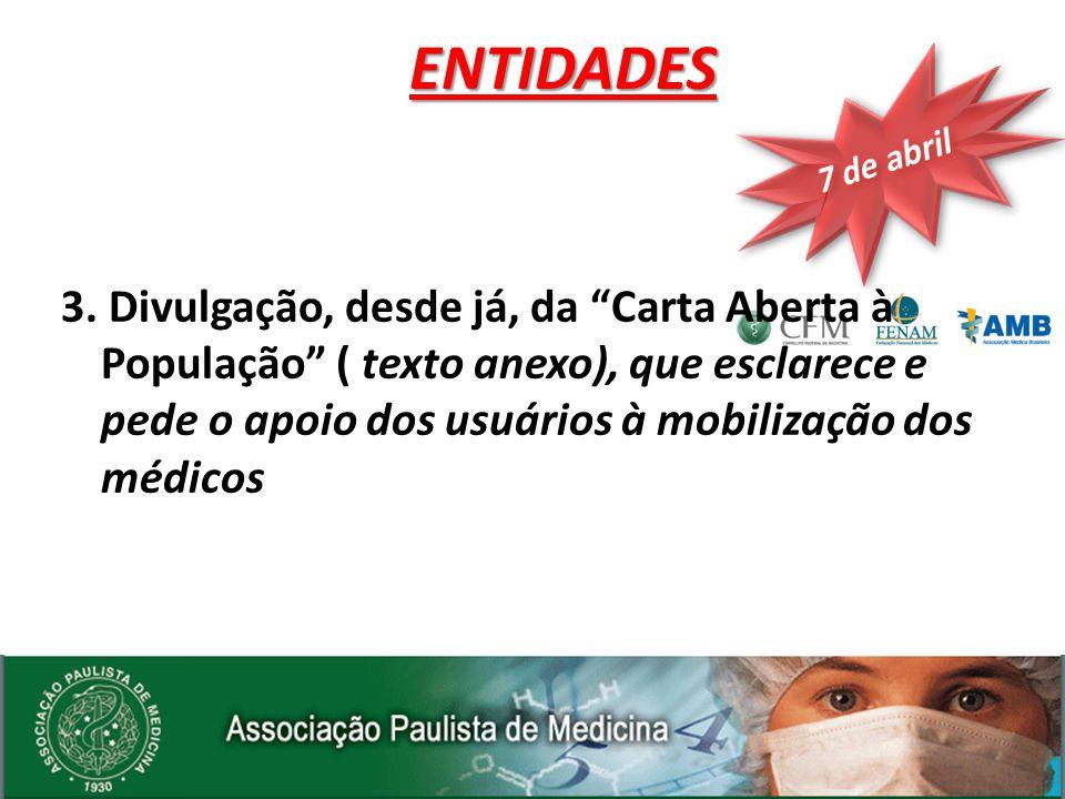 3. Divulgação, desde já, da Carta Aberta à População ( texto anexo), que esclarece e pede o apoio dos usuários à mobilização dos médicosENTIDADES