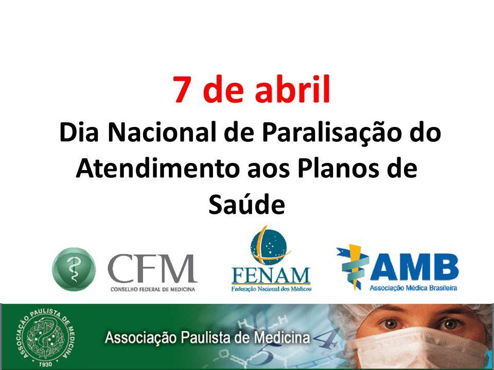 7 de abril Dia Nacional de Paralisação do Atendimento aos Planos de Saúde