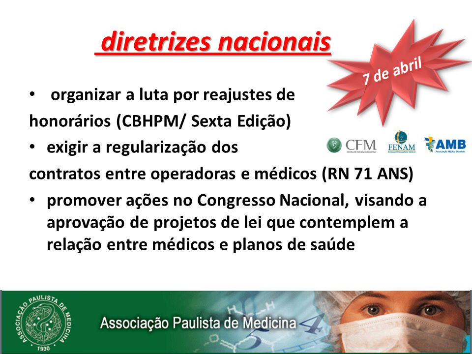 organizar a luta por reajustes de honorários (CBHPM/ Sexta Edição) exigir a regularização dos contratos entre operadoras e médicos (RN 71 ANS) promove