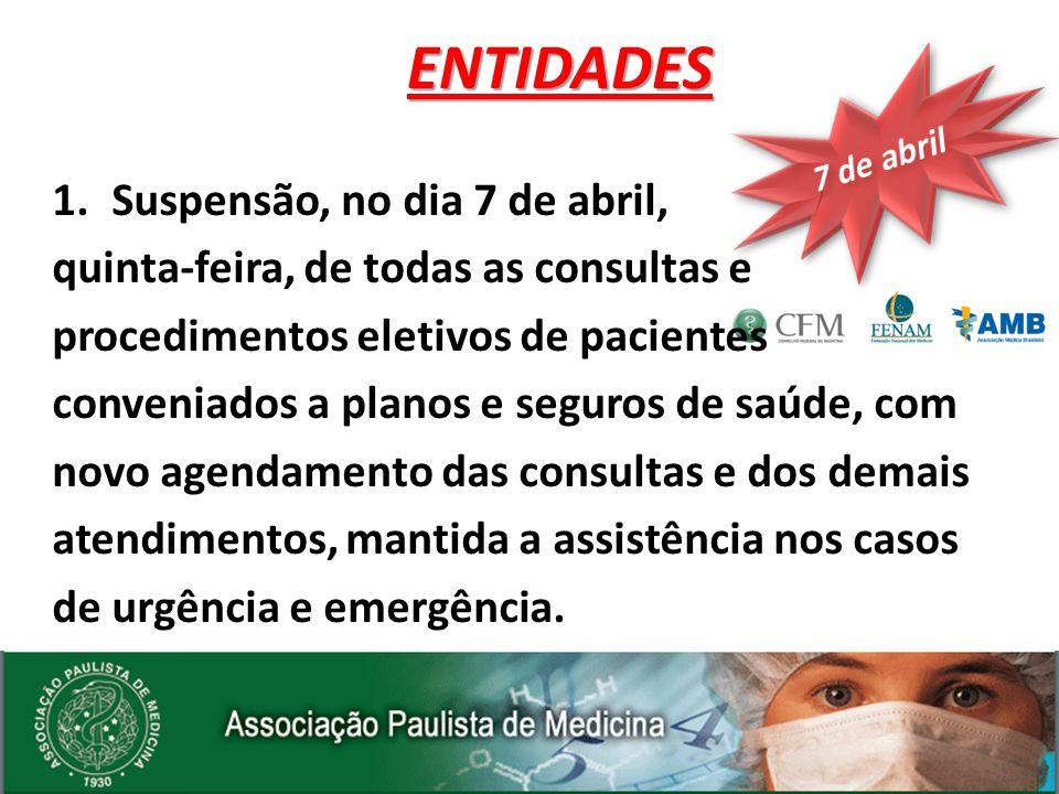 1.Suspensão, no dia 7 de abril, quinta-feira, de todas as consultas e procedimentos eletivos de pacientes conveniados a planos e seguros de saúde, com