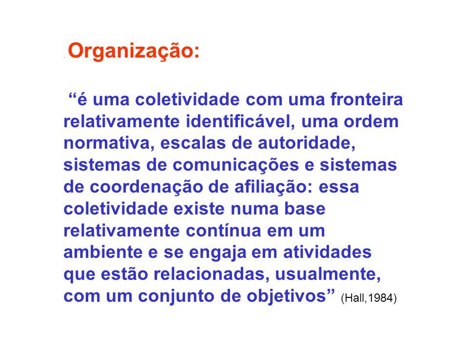 . Organização: é uma coletividade com uma fronteira relativamente identificável, uma ordem normativa, escalas de autoridade, sistemas de comunicações