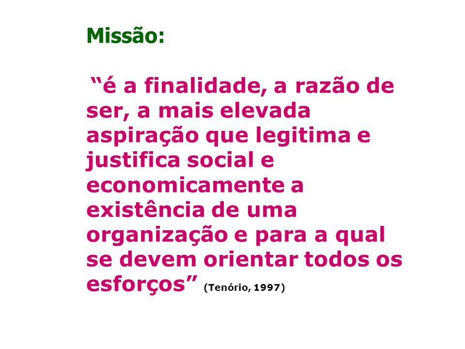 Missão: é a finalidade, a razão de ser, a mais elevada aspiração que legitima e justifica social e economicamente a existência de uma organização e pa