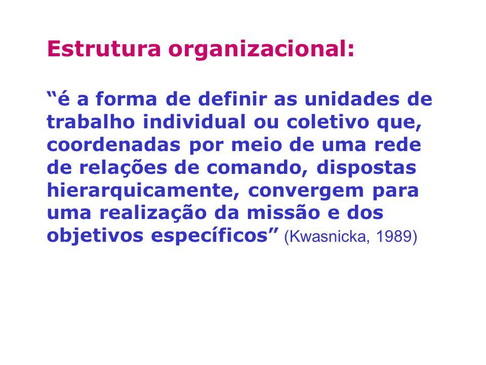 Estrutura organizacional: é a forma de definir as unidades de trabalho individual ou coletivo que, coordenadas por meio de uma rede de relações de com
