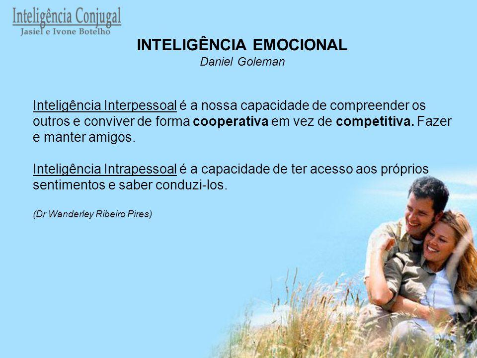 INTELIGÊNCIA EMOCIONAL Daniel Goleman Inteligência Interpessoal é a nossa capacidade de compreender os outros e conviver de forma cooperativa em vez d