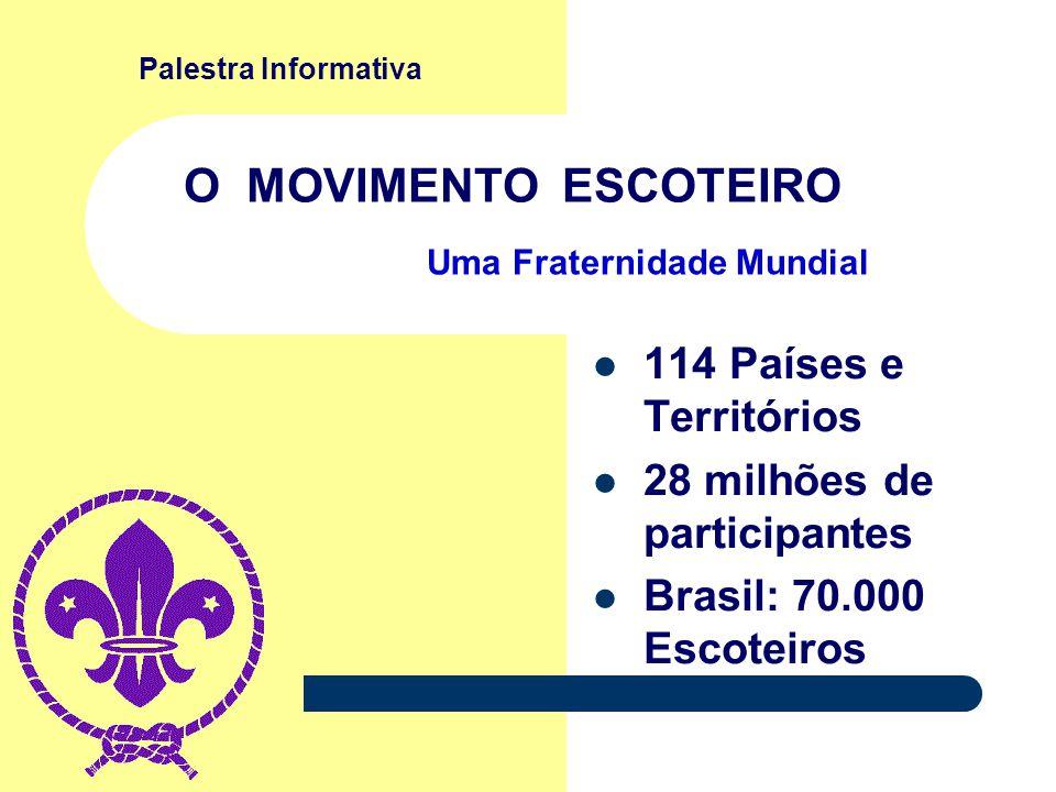 Palestra Informativa O MOVIMENTO ESCOTEIRO 114 Países e Territórios 28 milhões de participantes Brasil: 70.000 Escoteiros Uma Fraternidade Mundial