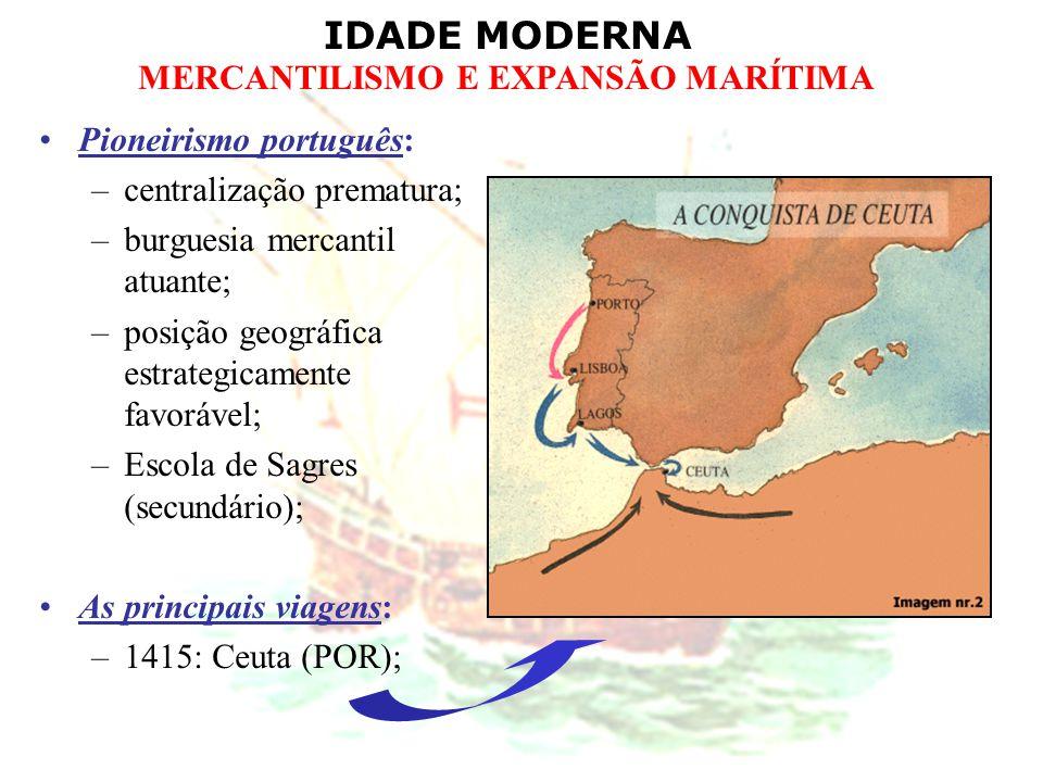 IDADE MODERNA MERCANTILISMO E EXPANSÃO MARÍTIMA Pioneirismo português: –centralização prematura; –burguesia mercantil atuante; –posição geográfica est