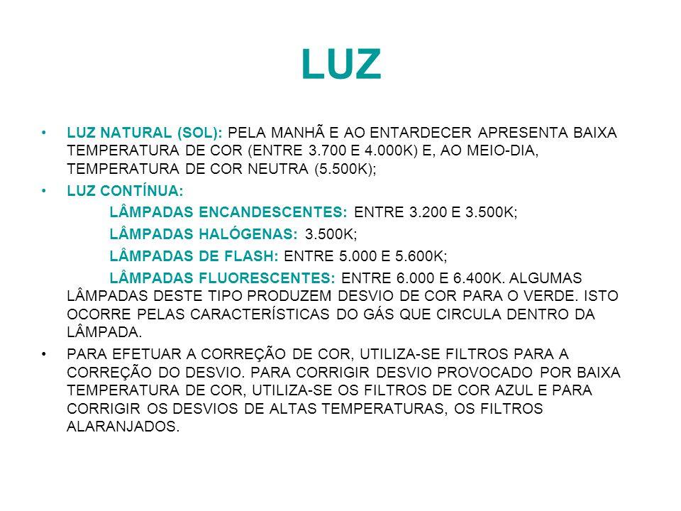 LUZ LUZ NATURAL (SOL): PELA MANHÃ E AO ENTARDECER APRESENTA BAIXA TEMPERATURA DE COR (ENTRE 3.700 E 4.000K) E, AO MEIO-DIA, TEMPERATURA DE COR NEUTRA