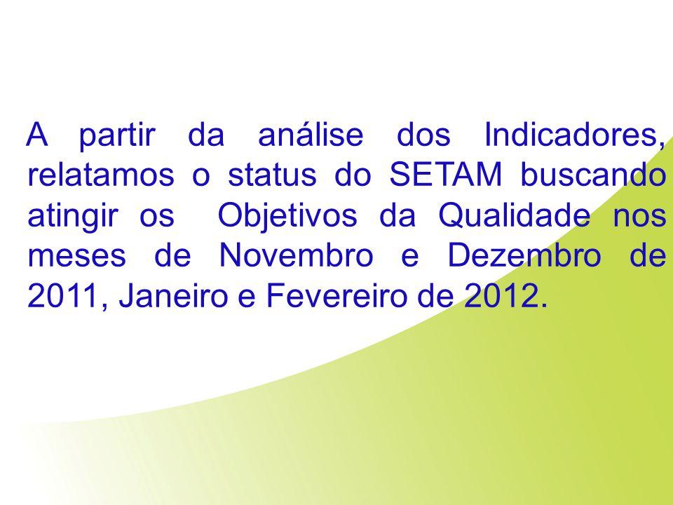 A partir da análise dos Indicadores, relatamos o status do SETAM buscando atingir os Objetivos da Qualidade nos meses de Novembro e Dezembro de 2011,
