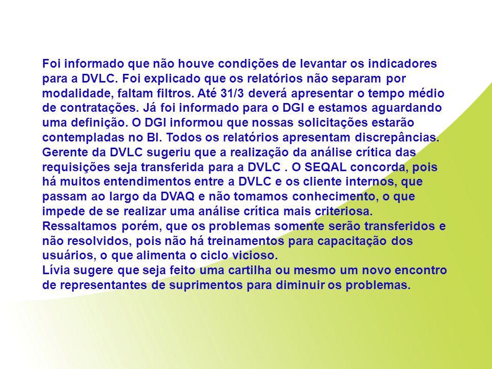 Foi informado que não houve condições de levantar os indicadores para a DVLC. Foi explicado que os relatórios não separam por modalidade, faltam filtr
