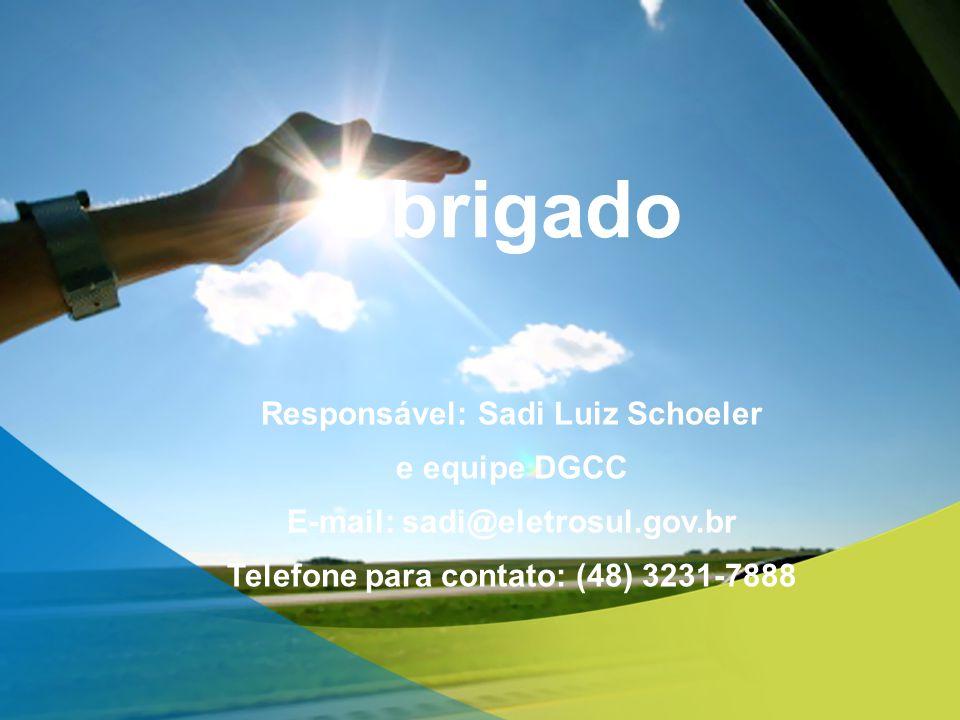 Obrigado Responsável: Sadi Luiz Schoeler e equipe DGCC E-mail: sadi@eletrosul.gov.br Telefone para contato: (48) 3231-7888