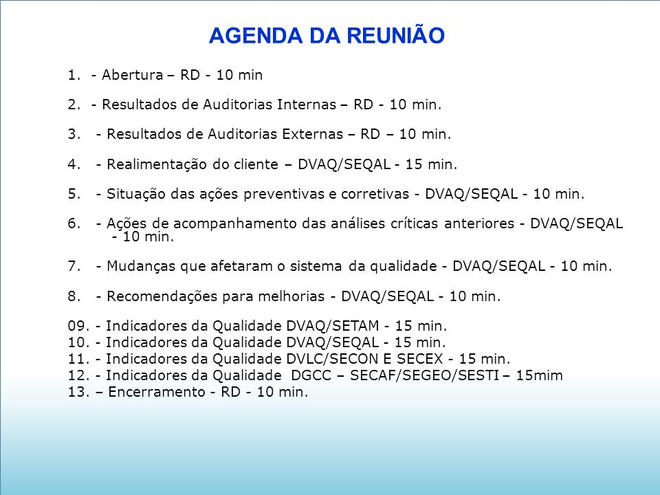 AGENDA DA REUNIÃO 1. - Abertura – RD - 10 min 2. - Resultados de Auditorias Internas – RD - 10 min. 3. - Resultados de Auditorias Externas – RD – 10 m