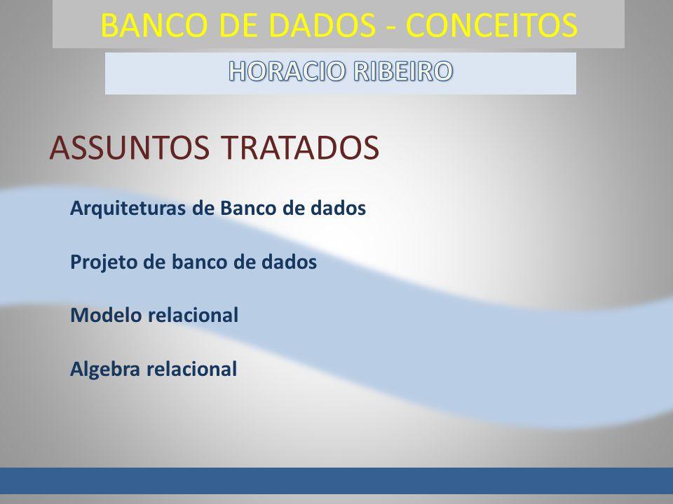 BANCO DE DADOS - CONCEITOS Arquiteturas de Banco de dados Projeto de banco de dados Modelo relacional Algebra relacional ASSUNTOS TRATADOS