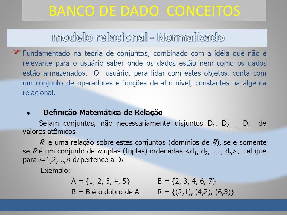 BANCO DE DADO CONCEITOS Fundamentado na teoria de conjuntos, combinado com a idéia que não é relevante para o usuário saber onde os dados estão nem como os dados estão armazenados.
