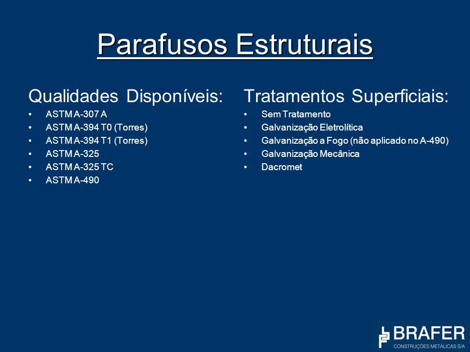 Parafusos Estruturais Qualidades Disponíveis: ASTM A-307 A ASTM A-394 T0 (Torres) ASTM A-394 T1 (Torres) ASTM A-325 ASTM A-325 TC ASTM A-490 Tratament