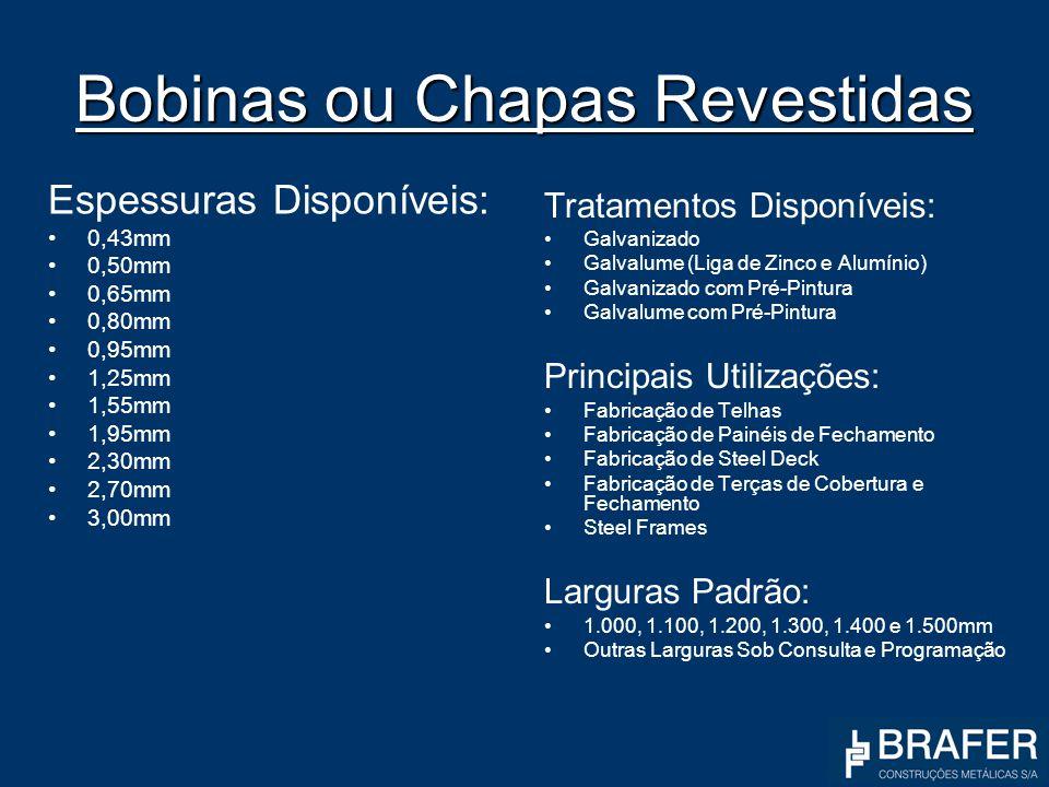 Bobinas ou Chapas Revestidas Espessuras Disponíveis: 0,43mm 0,50mm 0,65mm 0,80mm 0,95mm 1,25mm 1,55mm 1,95mm 2,30mm 2,70mm 3,00mm Tratamentos Disponív
