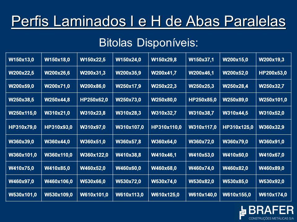 Perfis Laminados I e H de Abas Paralelas Perfis Laminados I e H de Abas Paralelas Bitolas Disponíveis: W150x13,0W150x18,0W150x22,5W150x24,0W150x29,8W1