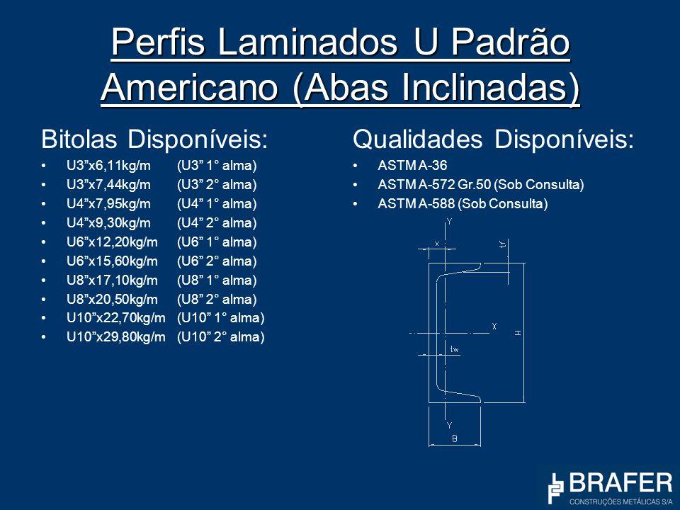 Perfis Laminados U Padrão Americano (Abas Inclinadas) Bitolas Disponíveis: U3x6,11kg/m(U3 1° alma) U3x7,44kg/m(U3 2° alma) U4x7,95kg/m(U4 1° alma) U4x