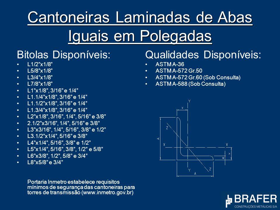 Cantoneiras Laminadas de Abas Iguais em Polegadas Bitolas Disponíveis: L1/2x1/8 L5/8x1/8 L3/4x1/8 L7/8x1/8 L1x1/8, 3/16 e 1/4 L1.1/4x1/8, 3/16 e 1/4 L