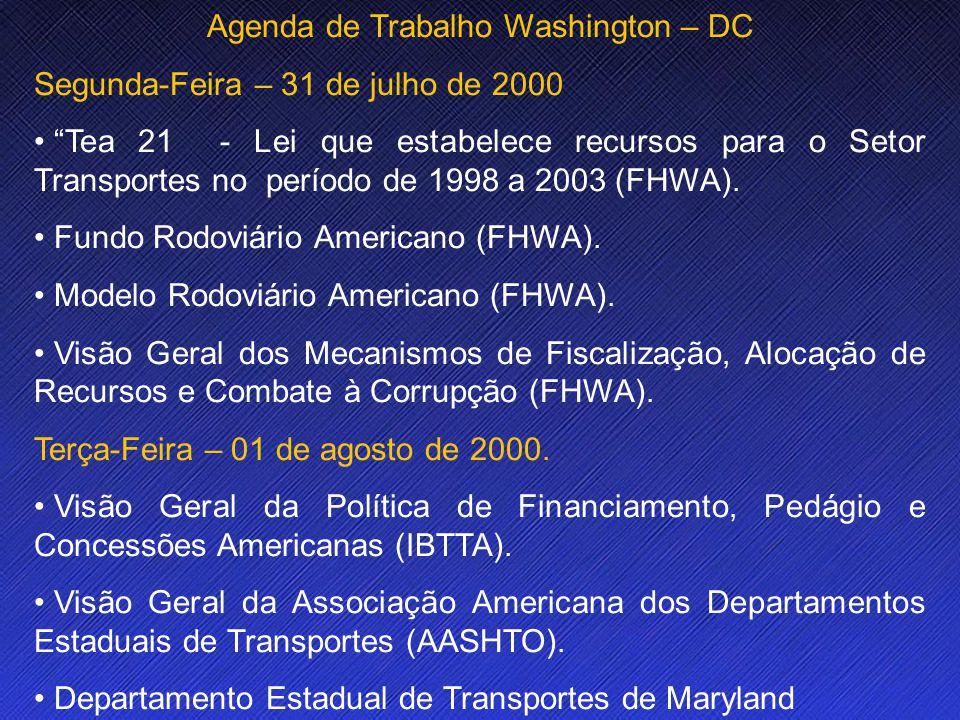Name Event Date Name Event Date 3 Agenda de Trabalho Washington – DC Segunda-Feira – 31 de julho de 2000 Tea 21 - Lei que estabelece recursos para o Setor Transportes no período de 1998 a 2003 (FHWA).