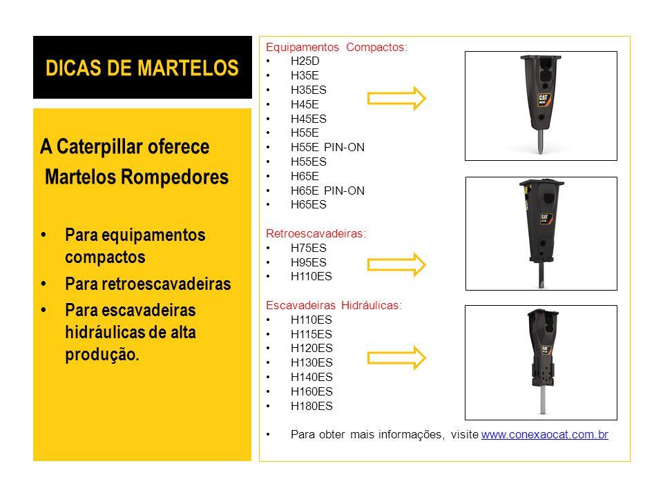 DICAS DE MARTELOS Equipamentos Compactos: H25D H35E H35ES H45E H45ES H55E H55E PIN-ON H55ES H65E H65E PIN-ON H65ES Retroescavadeiras: H75ES H95ES H110