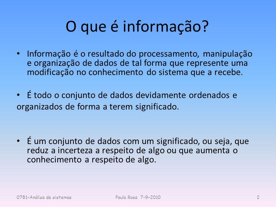O que é informação? Informação é o resultado do processamento, manipulação e organização de dados de tal forma que represente uma modificação no conhe