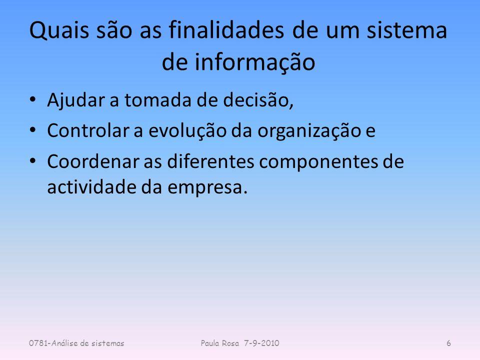 Quais são as finalidades de um sistema de informação Ajudar a tomada de decisão, Controlar a evolução da organização e Coordenar as diferentes compone