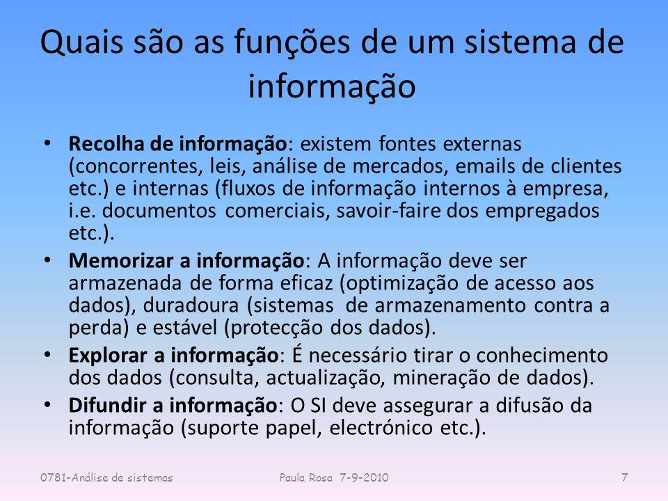 Quais são as funções de um sistema de informação Recolha de informação: existem fontes externas (concorrentes, leis, análise de mercados, emails de cl