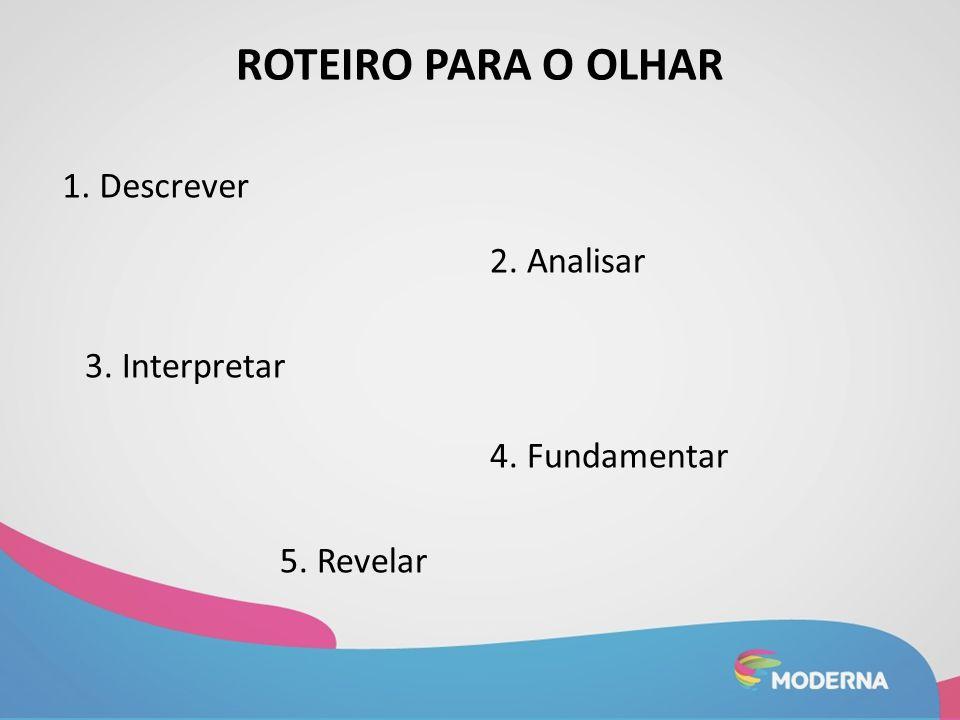 ROTEIRO PARA O OLHAR 1. Descrever 2. Analisar 3. Interpretar 4. Fundamentar 5. Revelar