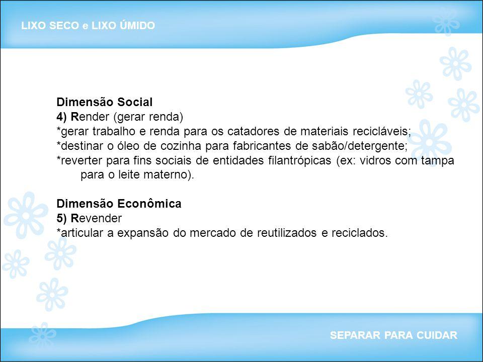 Dimensão Social 4) Render (gerar renda) *gerar trabalho e renda para os catadores de materiais recicláveis; *destinar o óleo de cozinha para fabricant