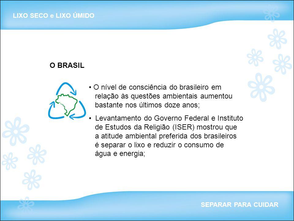 O BRASIL LIXO SECO e LIXO ÚMIDO SEPARAR PARA CUIDAR O nível de consciência do brasileiro em relação às questões ambientais aumentou bastante nos últim