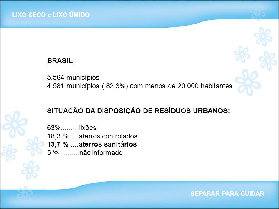 BRASIL 5.564 municípios 4.581 municípios ( 82,3%) com menos de 20.000 habitantes SITUAÇÃO DA DISPOSIÇÃO DE RESÍDUOS URBANOS: 63%.........lixões 18,3 %