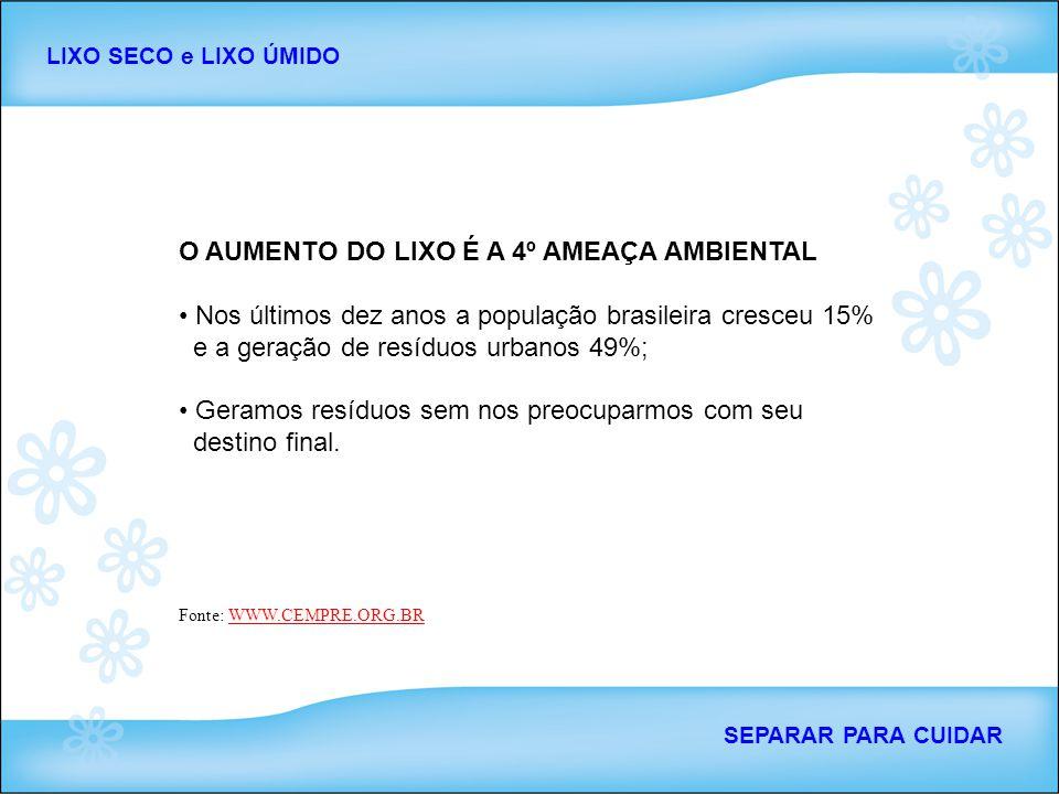 O AUMENTO DO LIXO É A 4º AMEAÇA AMBIENTAL Nos últimos dez anos a população brasileira cresceu 15% e a geração de resíduos urbanos 49%; Geramos resíduo