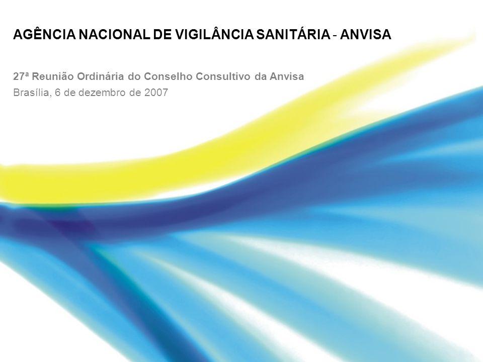 AGÊNCIA NACIONAL DE VIGILÂNCIA SANITÁRIA - ANVISA 27ª Reunião Ordinária do Conselho Consultivo da Anvisa Brasília, 6 de dezembro de 2007